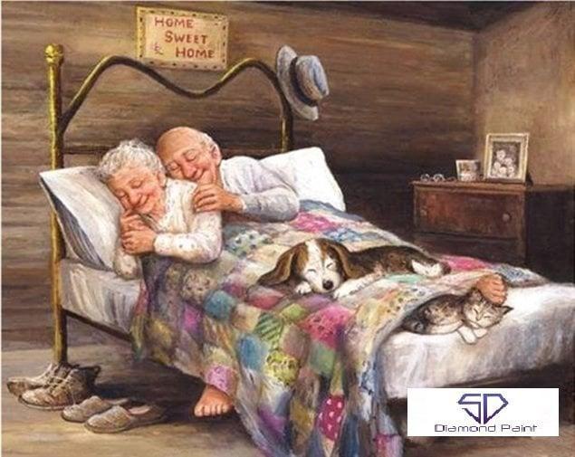 Diamond Painting - Ældre ægtepar i seng thumbnail
