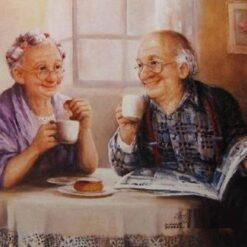 Ældre ægtepar ved bord - Diamond Paint