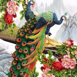 2 påfugle på gren - Diamond Paint