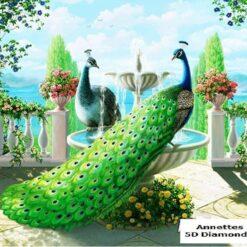 2 påfugle ved springvand - Diamond Paint