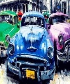 3 gamle biler i 3 farver - Diamond Paint