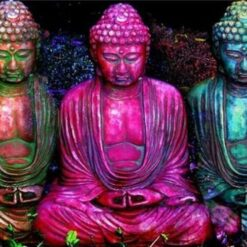 3 Buddhaer i flere farver - Diamond Paint
