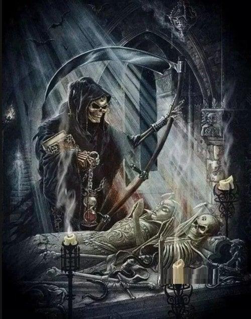 Image of Døden og 2 skeletter