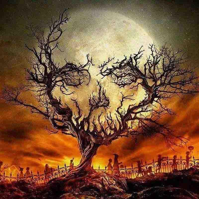 Image of Dødningehoved i træ