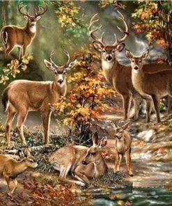 Hjortefamilie i skoven - Diamond Paint