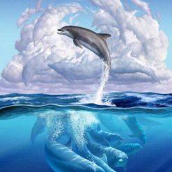 Delfiner i havet - Diamond Paint