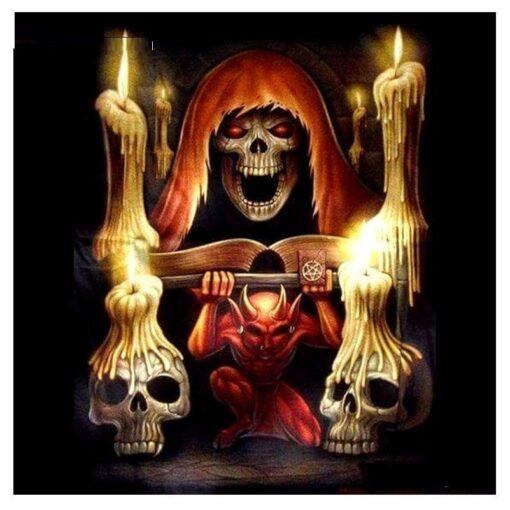 Djævlen og kranier - Diamond Paint