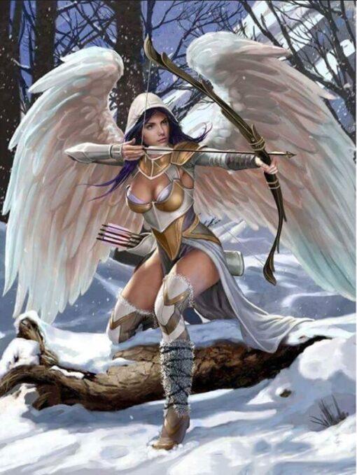 Engel med bue - diamond paint