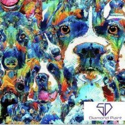 Hunde i mange farver - Diamond Paint