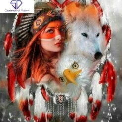 Indianerdame med dyr - Diamond Paint