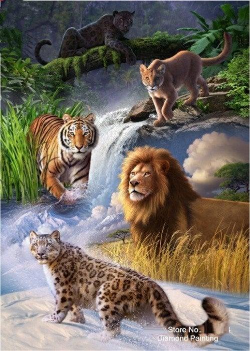 Kattedyr ved vandfald thumbnail