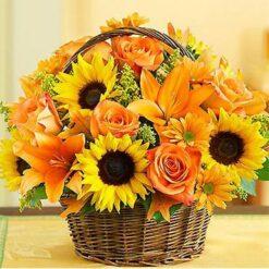 Kurv med gule blomster - Diamond Paint