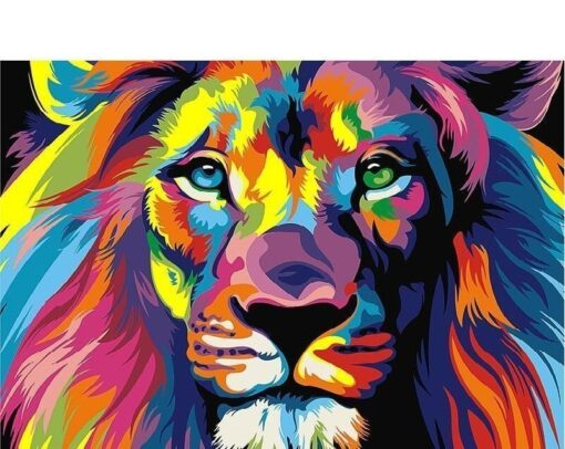 Løve mange farver - Diamond Paint