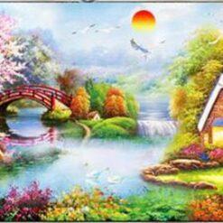 Landskab med huse og bro- Diamond Paint