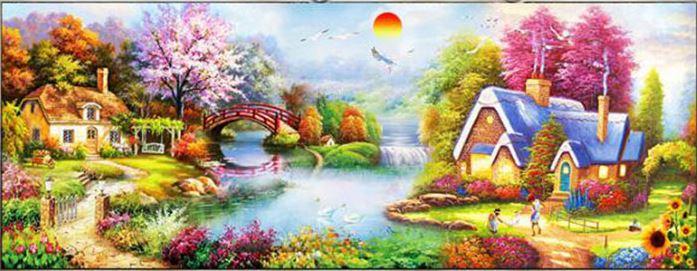 Diamond Painting - Landskab med huse og bro thumbnail