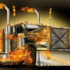 Lastbil med ild - Diamond Paint
