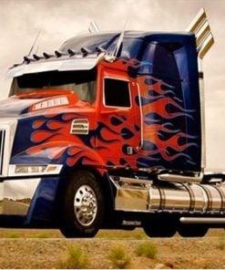 Lastbil med røde flammer - Diamond Paint