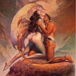 Nøgen engel og mand - Diamond Paint