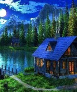 Nattebillede med hus - diamond paint