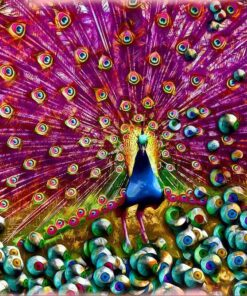 Påfugl mange farver - Diamond Paint