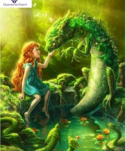 Pige og grøn drage - Diamond Paint