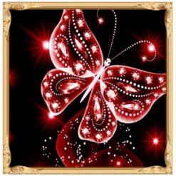 Rød sommerfugl - Diamond Paint