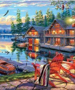 Sø med huse og båd - diamond paint