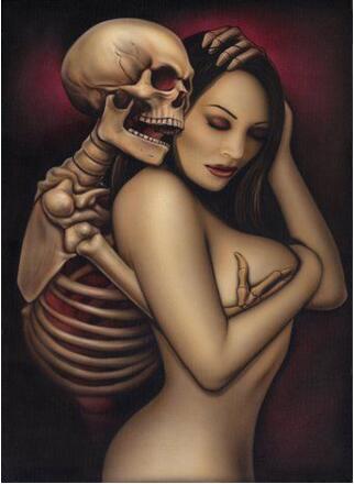 Skelet og nøgen dame thumbnail