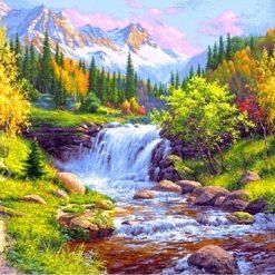 Skov med lille vandfald - Diamond Paint