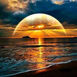 Solnedgang over havet -Diamond Paint