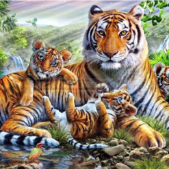 Tiger med unger - Diamond Paint