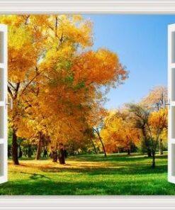 Vindue med efterår - Diamond Paint
