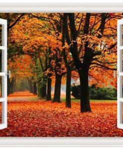 Vindue med efterårsvej - Diamond Paint