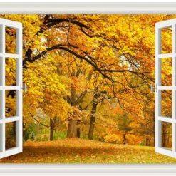 Vindue med efterårsskov - Diamond Paint
