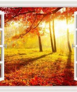 Vindue med efterårstræer - Diamond Paint