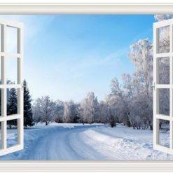 Vindue med vintervej - Diamond Paint