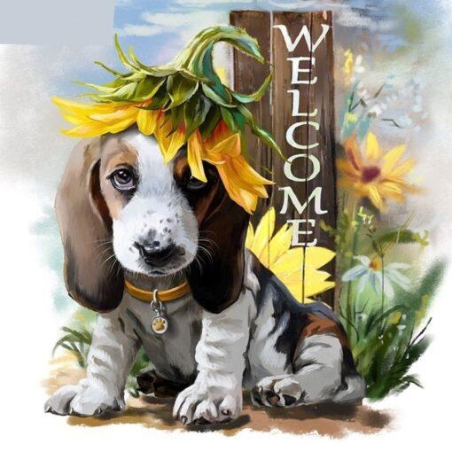 Welcome home hundehvalp med solsikke- Diamond Paint