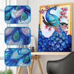 Blå påfugl - Diamond Paint