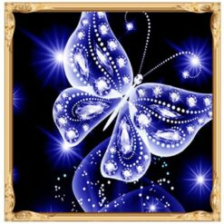Blå sommerfugl - Bling Bling - Diamond Paint
