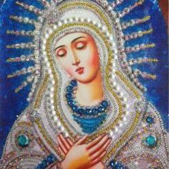 Blå Madonna med foldede hænder - Diamond Paint