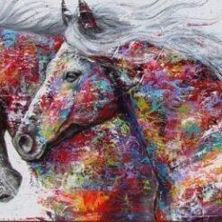 2 heste i mange farver - Diamond Paint