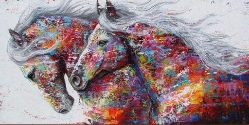 Image of 2 heste i mange farver