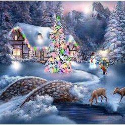 Hus med juletræ og rådyr - Diamond Paint