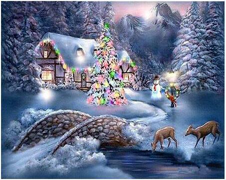 Diamond Painting - Hus med juletræ og rådyr thumbnail