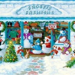 Julebutik med snemænd - Diamond Paint