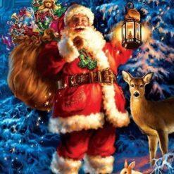 Julemand med gavesæk og lygte - Diamond Paint