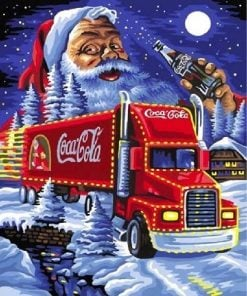 Julemanden med Coca Cola lastbil - Diamond Paint