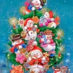 Juletræ med snemænd - Diamond Paint