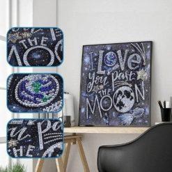 I love you to the moon - tekst i diamond paint