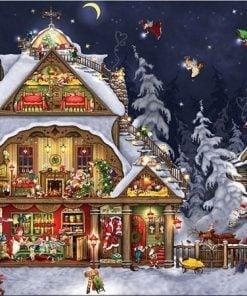 Julehus med små nisser - Diamond Paint